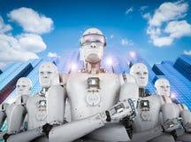 Líder del robot con el equipo Fotos de archivo