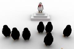 líder do pinguim 3d que dá o discurso ao grupo de conceito dos pinguins Fotografia de Stock