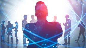 Líder empresarial y equipo en la ciudad, red digital imagenes de archivo