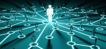 Líder que conecta uma rendição do grupo de pessoas 3D Imagens de Stock