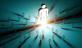 Líder que ilumina uma rendição do grupo de pessoas 3D Foto de Stock