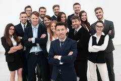 Líder que se coloca delante de un equipo grande del negocio Fotografía de archivo libre de regalías