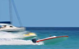 Líder Raicing de barcos rápidos Imágenes de archivo libres de regalías