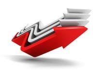 Líder rojo Rising Up Arrow del concepto Team Group Imagen de archivo libre de regalías