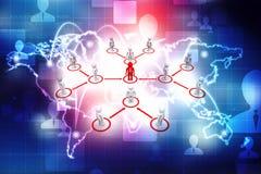 Líder Ship Concept, conceito da rede do negócio rendição 3d ilustração royalty free