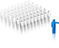 Líder Stick Figure entre la muchedumbre Imagen de archivo