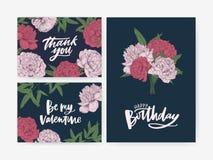 Líe tarjeta de felicitación del cumpleaños y del St día de San Valentín y gracias las plantillas de la nota adornadas con la flor ilustración del vector