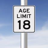 Límite de edad en 18 Foto de archivo libre de regalías