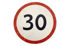 Límite de velocidad del ` de la señal de tráfico 30 kilómetros por hora del ` aislado en blanco stock de ilustración