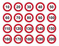 Límite de velocidad determinado de la muestra del icono stock de ilustración