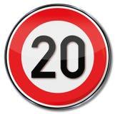 Límite de velocidad 20 kilómetros por hora stock de ilustración