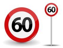Límite de velocidad rojo redondo de la señal de tráfico 60 kilómetros por hora Ilustración del vector stock de ilustración