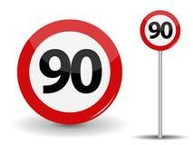 Límite de velocidad rojo redondo de la señal de tráfico 90 kilómetros por hora Ilustración del vector stock de ilustración