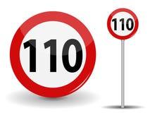 Límite de velocidad rojo redondo de la señal de tráfico 110 kilómetros por hora Ilustración del vector libre illustration