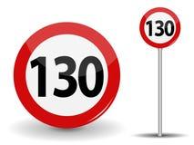 Límite de velocidad rojo redondo de la señal de tráfico 130 kilómetros por hora Ilustración del vector libre illustration