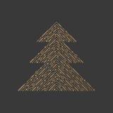 Línea árbol de Navidad Elemento para la Navidad stock de ilustración