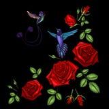 Línea étnica gráficos del cuello de las flores del bordado del diseño floral stock de ilustración