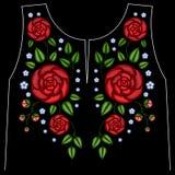 Línea étnica gráficos del cuello de las flores del bordado del diseño floral ilustración del vector