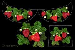 Línea étnica simplificada colorida estampado de flores del cuello del bordado con la fresa y la flor libre illustration