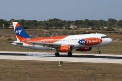 Línea aérea barata de MyTravel Foto de archivo libre de regalías