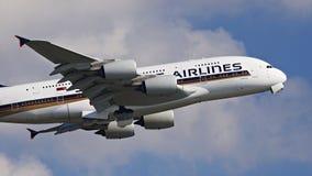 Línea aérea A380 de Singapur fotos de archivo libres de regalías