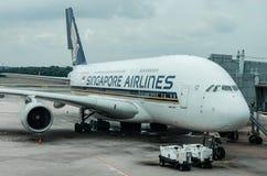 Línea aérea de Singapur en el terminal de aeropuerto de Changi 1 Imágenes de archivo libres de regalías