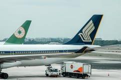 Línea aérea de Singapur en el terminal de aeropuerto de Changi 1 Fotos de archivo libres de regalías