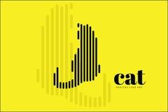 Línea abstracta arte, Cat Action, bandera del diseño del ejemplo del vector, fondo de Digitaces Fotografía de archivo libre de regalías