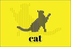 Línea abstracta arte, Cat Action, bandera del diseño del ejemplo del vector, fondo de Digitaces Imágenes de archivo libres de regalías