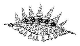 Línea abstracta esquema dibujado ornamento étnico decorativo de la concha marina en diseño geométrico sagrado del elemento de la  Foto de archivo