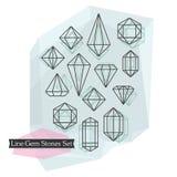 Línea abstracta piedras y diamantes de gema simbólicas del corte fijados Imágenes de archivo libres de regalías