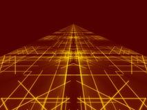 Línea abstracta roja del fondo y del oro Imagenes de archivo