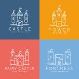 Línea abstracta vector Logo Template del castillo del estilo Fotos de archivo