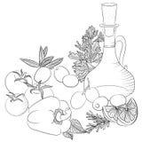 Línea aceite y verduras de oliva del arte Foto de archivo libre de regalías