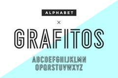 Línea alfabeto condensado y fuente libre illustration