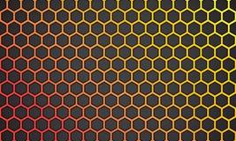 Línea amarillo-naranja hexágono del ejemplo del vector con el fondo negro ilustración del vector