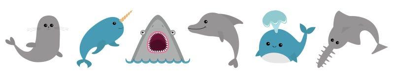 Línea animal del sistema del icono de la fauna del océano del mar Ballena azul, sawshark, delf?n, narval, sello Vio pescados del  libre illustration