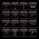 Línea arma, brazos e iconos de la guerra Imágenes de archivo libres de regalías