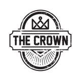Línea Art Crown/ejemplo real del vector del diseño del logotipo stock de ilustración