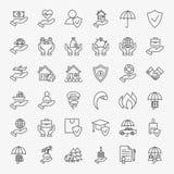 Línea Art Design Icons Big Set del seguro Imagen de archivo