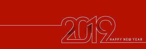 Línea Art Design Patter del texto de la Feliz Año Nuevo 2019 stock de ilustración