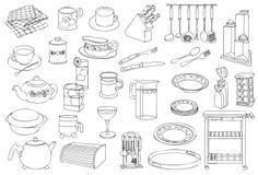 Línea Art Illustration de la comida y de las mercancías de la cocina ilustración del vector