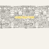 Línea Art Seamless Web Banner de la construcción Fotografía de archivo libre de regalías