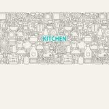Línea Art Seamless Web Banner de los utensilios de la cocina Fotos de archivo libres de regalías