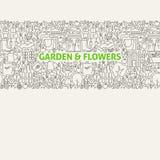 Línea Art Seamless Web Banner del jardín Imagenes de archivo