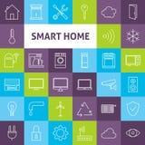 Línea Art Smart Home Icons Set del vector Fotografía de archivo
