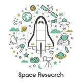 Línea Art Thin Icons Set de la investigación del espacio con el astronauta y los planetas de la lanzadera Foto de archivo
