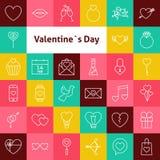 Línea Art Valentine Day Icons Set del vector Imágenes de archivo libres de regalías