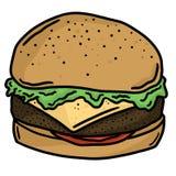 Línea Art Vector Illustration Clip Art de los alimentos de preparación rápida de la hamburguesa de la carne de vaca Fotografía de archivo libre de regalías