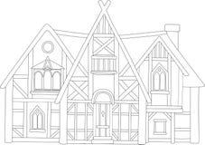 Línea arte con la casa medieval europea hermosa stock de ilustración